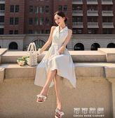 復古格子西裝V領襯衫裙女夏季韓版高腰收腰氣質無袖中長款洋裝 可可鞋櫃