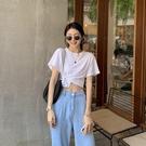 【Charm Beauty】白色T恤 短袖女 ins潮 夏季 寬鬆 設計感 小眾 高腰 露臍 辣妹 打結 短款上衣