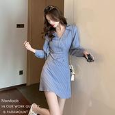 長袖洋裝 顯瘦襯衫連身裙-媚儷香檳-【FD0065】