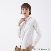 【GIORDANO】女裝四季百搭彈力牛津紡襯衫 - 20 白/粉/灰格紋