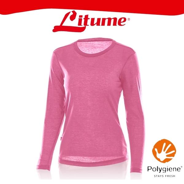 【Litume 意都美 女 刷絨彈性保暖衣《桃紅》】KJ005W/內層衣/圓領/內刷毛/抑臭/快乾