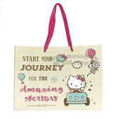 〔小禮堂〕Hello Kitty 手提橫式紙袋《L.米黃.開車》包裝袋.送禮紙袋 4714581-55174