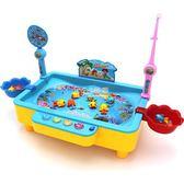 兒童釣魚玩具池套裝男女孩1-6歲寶寶小貓電動釣魚磁性益智玩具  卡菲婭