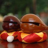 木魚 香樟木木魚原木純實木一套法器3.5寸-5寸-8寸黃色