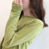 打底衫 牛油果綠毛衣女新款時尚寬松外穿套頭針織衫秋冬季薄款打底衫 【免運】