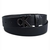 CK 牛仔Logo黑色皮帶