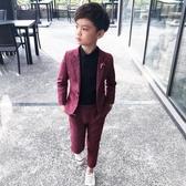 韓版休閒童裝西裝男童小西裝兒童禮服二件套花童套裝主持人演出服(快速出貨)