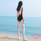 泳衣 連體泳衣女網紅性感顯瘦遮肚正韓ins風露背黑色保守仙女范學生