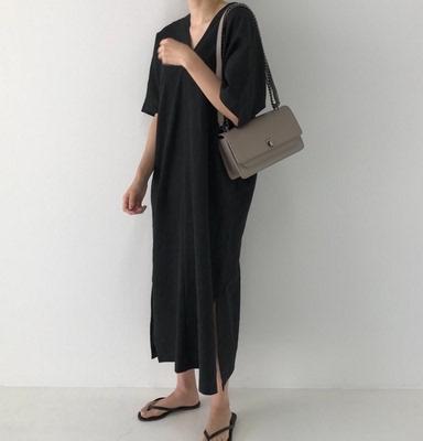 胖妹妹大碼棉麻洋裝~663# 韓國ins極簡主義復古長款寬松慵懶風V領長款短袖連身裙女DC261B莎菲娜