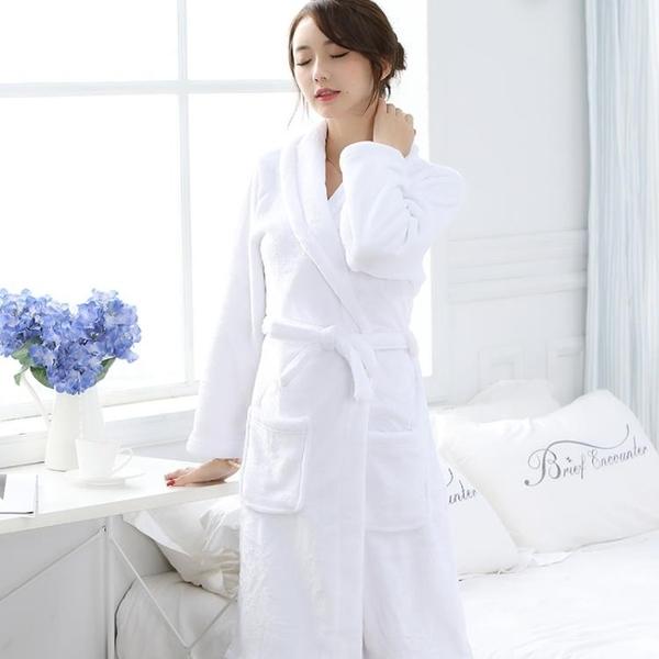 情侶睡袍女秋冬季加厚加長款法蘭絨浴袍白色酒店男士珊瑚絨浴衣