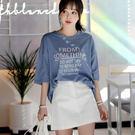 ㊣韓 韓國製 J0132 棉質英文字印花T桖上衣-大尺碼 獨具衣格