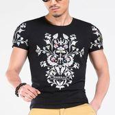男短袖T恤韓版上衣 夏季炫酷印花修身T恤 韓版時尚男裝短袖印花《印象精品》t3433