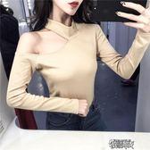 衣服女裝 時尚服裝上鏡春秋露肩夜店上衣長袖T恤 街頭布衣