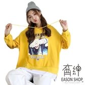 EASON SHOP(GW3350)實拍假兩件歐美人像印花長版OVERSIZE側開衩長袖連帽T恤大學T女上衣服內搭衫棉T