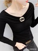 一字肩上衣女一字領上衣女秋裝新款性感露肩T恤女長袖洋氣百搭緊身打底衫 快速出貨