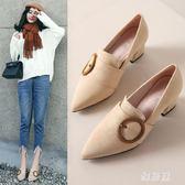 高跟鞋 新款粗跟韓版百搭時尚中跟尖頭英倫風深口單鞋女 df1529【雅居屋】