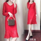 紅色v領蕾絲連身裙中長款打底魚尾裙 E家人