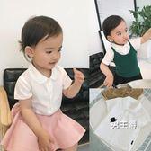 (萬聖節鉅惠)短袖襯衫辰辰媽嬰童裝女童夏裝女寶寶短袖襯衣娃娃領百搭嬰兒白襯衫上衣