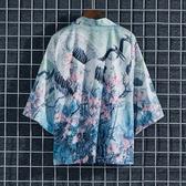 花襯衫 仙鶴國風花襯衫男夏季寬鬆七分袖開衫外套潮牌薄款kimono道袍防曬 夏季上新