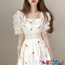 泡泡袖連身裙 裙子2021年新款夏天甜美重工刺繡顯瘦方領鏤空收腰泡泡袖連身裙女 寶貝計畫
