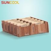 名片盒-創意桌面木質名片盒 商務辦公名片收納盒 卡片整理架 多格大容量 提拉米蘇