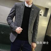 (百貨週年慶)秋冬加厚正韓男士休閒西服上衣外套青年英倫修身毛呢單小西裝厚款