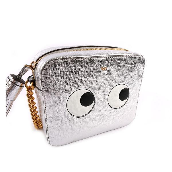 【ANYA HINDMARCH】山羊皮EYES RIGHT眼睛包crossbody (銀色) 925679/SILVERMETALLI