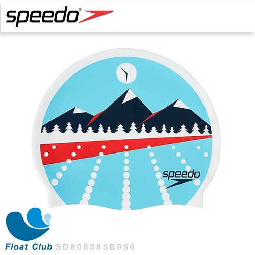 【Speedo】成人款矽膠泳帽  - Slogan Print 山景 (SD808385B956)