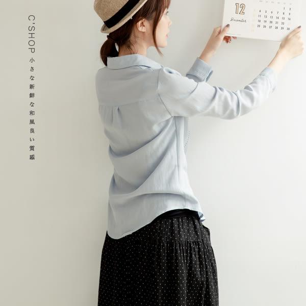 襯衫   虛線刺繡素面絲棉襯衫    二色-小C館日系
