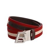 【BALLY】B-OBLIQUE 3.5CM織帶腰帶(紅/白) 618820