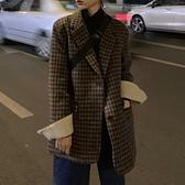 西裝外套 秋冬新款正韓復古中長款寬鬆小個子加厚格子西裝毛呢外套女-Ballet朵朵