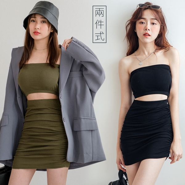 MIUSTAR 兩件式!平口背心+側邊皺皺合身裙(共2色)【NJ1600】預購