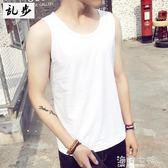 韓版夏裝運動休閒純色背心白色男透氣寬鬆無袖T恤嘻哈潮流青少年 海角七號