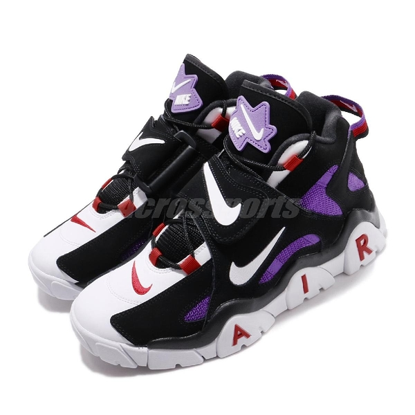 Nike 復古籃球鞋 Air Barrage Mid QS 黑 紫 紅 高筒 男鞋 魔鬼氈 【PUMP306】 CD9329-001