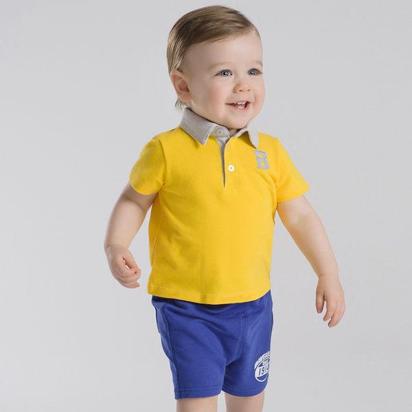 DaveBella 翻領休閒黃上衣藍短褲短袖套裝 DB2633