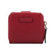 【GUCCI】Guccissima壓印牛皮ㄇ拉零錢袋壓釦短夾(紅色) 449395 BMJ1G 6420