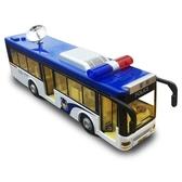 玩具汽車模型卡威公安警車巴士合金車模兒童玩具聲光回力警察公交大巴車模型