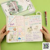日記本/手帳本 手帳本女創意韓國可愛彩頁插畫本子文具簡約記事本 玫瑰女孩