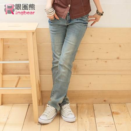 牛仔褲--細直小腿冰藍色粉紅鑽釦刷白低腰窄管直統牛仔褲(S-7L)-N19眼圈熊中大尺碼