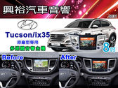 【專車專款】16~17年 Hyundai Tucson/ix35 專用8吋觸控螢幕多媒體主機*DVD+藍芽+導航+數位四合一