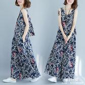 中大尺碼 女裝胖mm新款夏季文藝復古棉麻印花無袖上衣闊腿褲裙兩件套裝