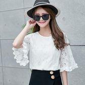 夏季韓版荷葉袖雪紡衫女圓領短袖T恤