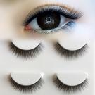 熱銷假睫毛新款3D立體多層假睫毛黑色棉線梗眼睫毛自然仿真短款3對裝