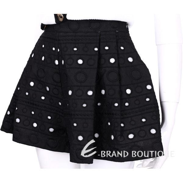 BOUTIQUE MOSCHINO 黑色圈圈刺繡拼接縷空短褲裙 1620528-01