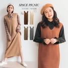 洋裝 Space Picnic|V領針織側開衩背心洋裝(預購)【C19111028】