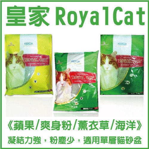 *KING WANG*皇家 Royal Cat《蘋果/爽身粉/薰衣草/海洋玫瑰/綠色大地》貓沙(10L)