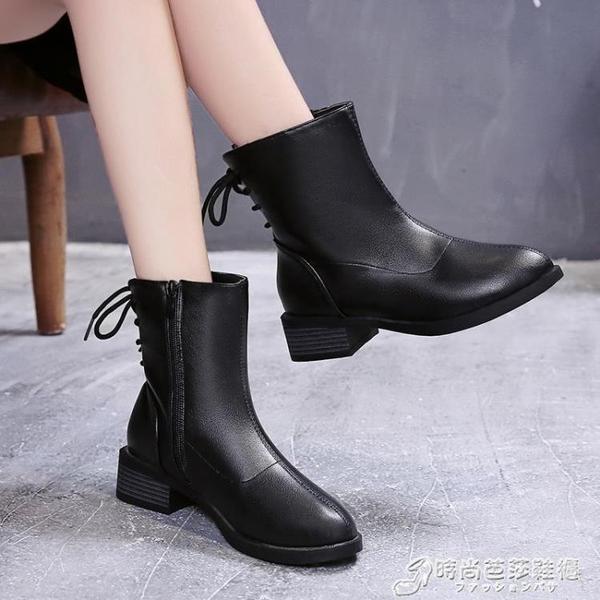 秋冬新款時尚短靴女百搭女鞋粗跟加絨中筒馬丁靴女後繫帶女靴 時尚芭莎