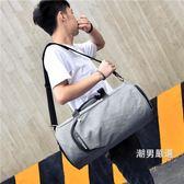 一件免運-大容量健身包男訓練包運動女單肩鞋位包行李足球包旅行包手提包2色