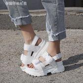 鬆糕涼鞋 鬆糕涼鞋女夏韓版港味復古CHIC休閒高跟鞋百搭外出厚底鞋 夢露時尚女裝