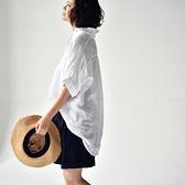 亞麻襯衫女 前短後長上衣 翻領短袖白襯衫-夢想家-C0329C-0719
